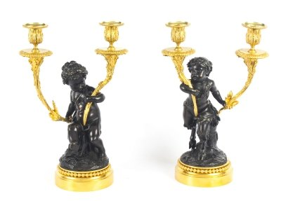 Antique Pair Large French Bronze &amp Ormolu Two Light Candelabra 19th C