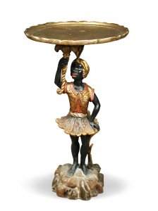 Antique Venetian Gilded &amp Painted Blackamoor OccasionalTable 19th C