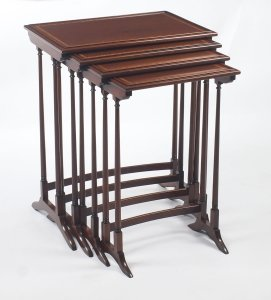 Antique Edwardian Mahogany Quartetto Nest of 4 Tables 19th C