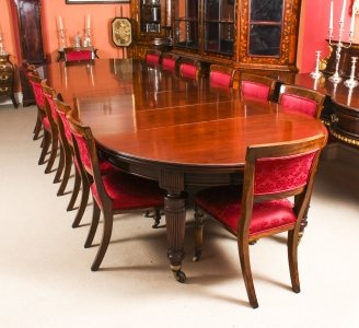 Antique Victorian Circular Extending Dining Table &amp 14 chairs 19th C