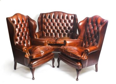 English Leather Queen Anne Sofa Pair Armchairs Burnt Amber