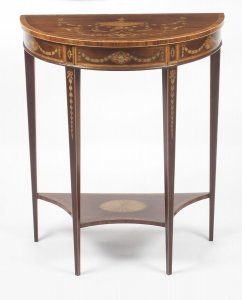 Antique Regency Revival Marquetry Console Table 19th C