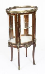 Antique Mahogany Ormolu Mounted Bijouterie Display Cabinet 19th Century