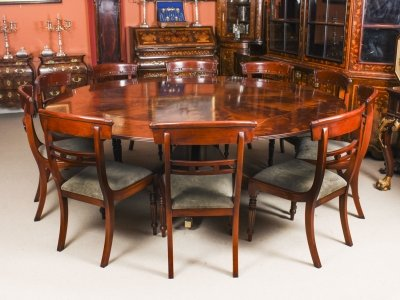 "Vintage 7ft 4"" Diameter Flame  Mahogany Jupe Dining Table & 10 Chairs mid 20th C 