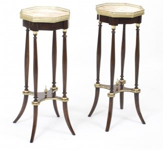 Antique Pair Ormolu Mounted Jardiniere Stands Occasional Tables 19th C