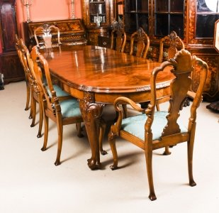 Antique Edwardian Queen Anne Revival Dining Table &amp 8 Chairs
