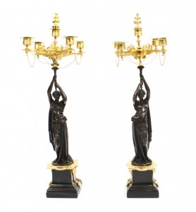 Antique Pair Patinated Bronze Figural Candelabra Jules Salmson 19th C | Ref. no. 09222