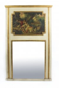Antique French Painted &amp Parcel Gilt Trumeau Mirror Circa 19th C