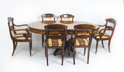 Antique Pollard Oak Marquetry Oval Victorian Dining Table 19th C &amp 6 Chairs