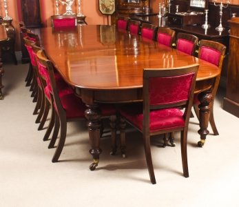 Antique 12ft Victorian D end Mahogany Dining Table &amp 14 chairs 19th C