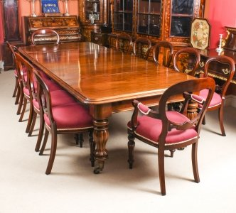 Antique 10 ft Flame Mahogany Dining Table C1840 &amp 12 balloon back chairs