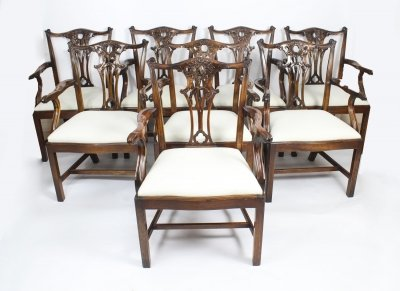 Vintage Set of 10 Mahogany Chippendale Revival Arm Chairs 20th Century