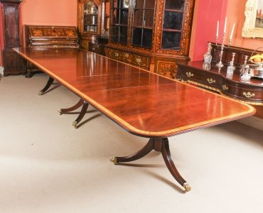 Vintage 15ft 6&quot Regency Style Arthur Brettt Dining Table Mid 20th C