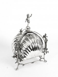 Antique Silver Plated Triple Shell Shaped Sweets Biscuit Box