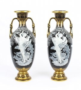 Antique Stunning Pair Sevres & 39 Pate Sur Pate& 39 Porcelain Vases 19th Century