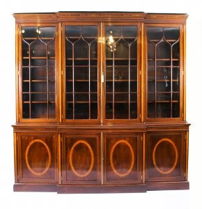 Antique English Flame Mahogany & Inlaid  Four Door Breakfront Bookcase 19th C | Ref. no. 09339 | Regent Antiques