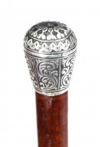Antique Walking Cane Stick Sterling Silver Handle 19th Century | Ref. no. 09354 | Regent Antiques