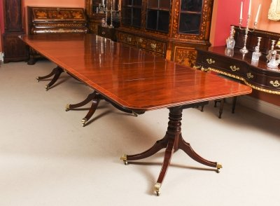 Antique George III Regency Flame Mahogany Triple Pillar Dining Table 19th C