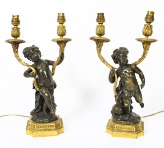 Antique Pair French Ormolu & Patinated Bronze Cherubs Table Lamps 19th C | Ref. no. 09362 | Regent Antiques