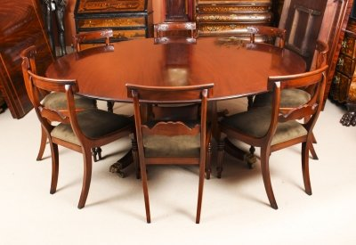 Vintage 6ft 6&quot Round Table &amp 8 Bespoke Chairs William Tillman 20th Century