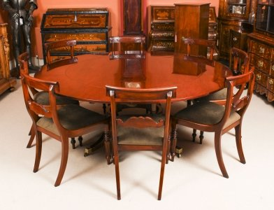 Vintage  6ft Diam Mahogany Jupe Dining Table, Leaf Cabinet & 8 Chairs | Ref. no. 09422a | Regent Antiques