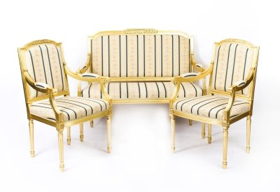 Bespoke French Louis XVI Giltwood  Suite- Sofa & Pair Armchairs | Ref. no. 09431 | Regent Antiques
