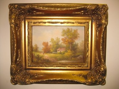Oil Painting English Country Cottage Giltwood Frame
