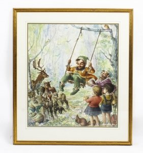 Vintage Large Watercolour by John Berry of Rumpelstiltskin Circa 1960 | Ref. no. R0017