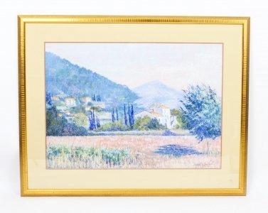 Vintage Pastel Tuscany Landscape by Brenda Mitchell Late 20th Century