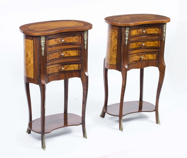 Pair French Walnut Kidney Bedside Chests Side Tables | Ref. no. 00052 | Regent Antiques