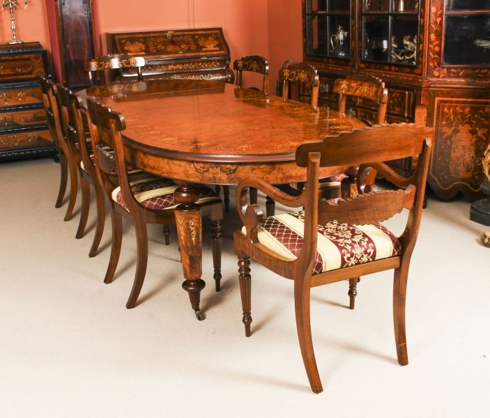 Stunning Bespoke Handmade Burr Walnut Marquetry Dining Table & 8 Chairs | Ref. no. 00059a | Regent Antiques