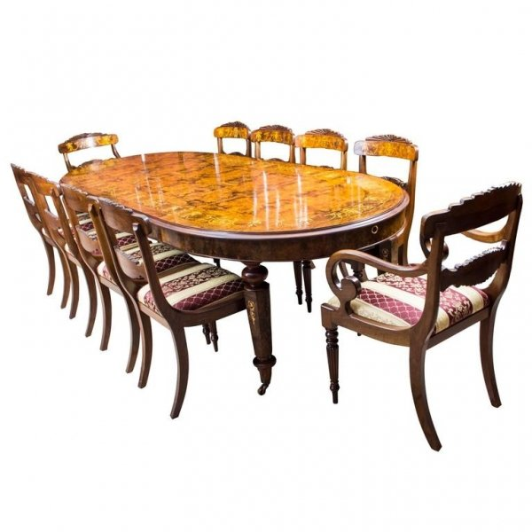 Stunning Bespoke Handmade Burr Walnut Marquetry Dining Table 10 Chairs | Ref. no. 00059a | Regent Antiques