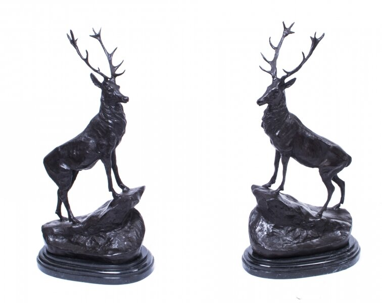 Pair of Bronze Stags | Bronze Stag Sculptures | Ref. no. 00136a | Regent Antiques