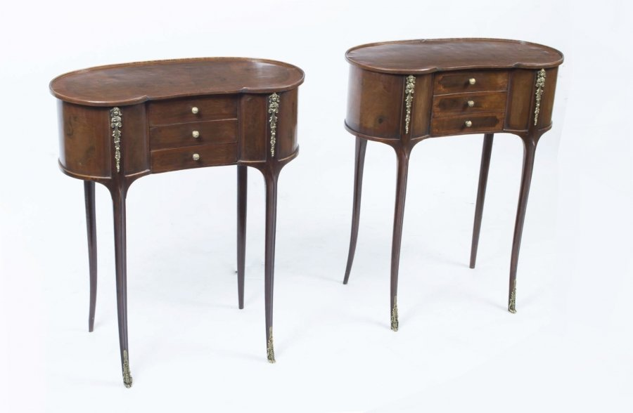Pair Victorian Style Walnut Kidney Bedside Side Tables | Ref. no. 00141a | Regent Antiques