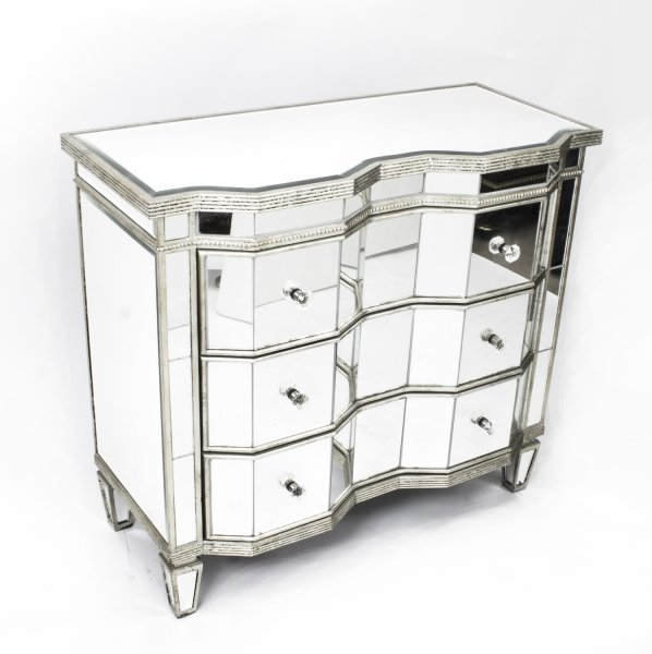 Vintage serpentine art deco mirrored commode chest 20thc for Commode miroir art deco