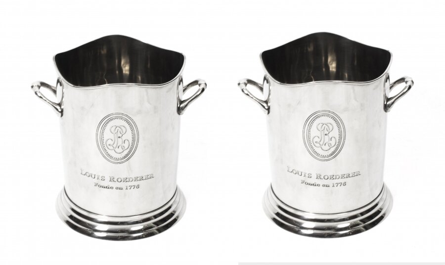 Gorgeous Pair Roederer Silver Plated Champagne Coolers | Ref. no. 00550 | Regent Antiques