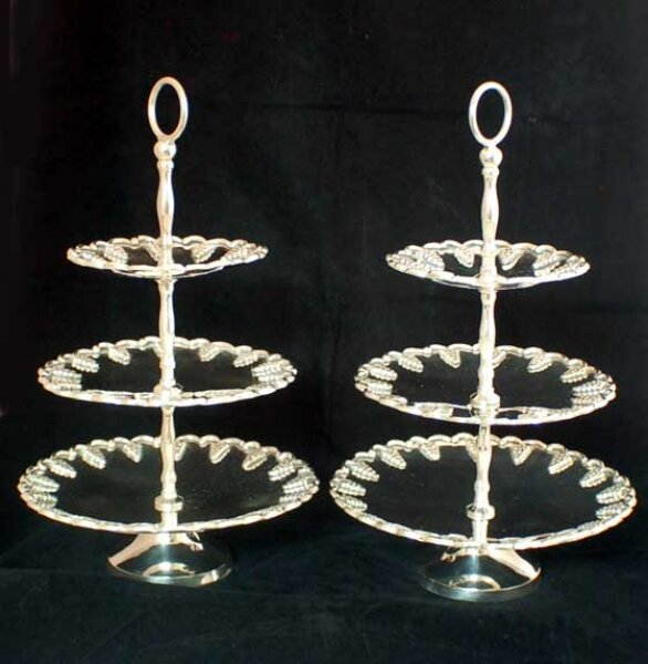 Vintage Pair Silver Plated Tiered Cake / Biscuit Stands  20th C | Ref. no. 00554 | Regent Antiques