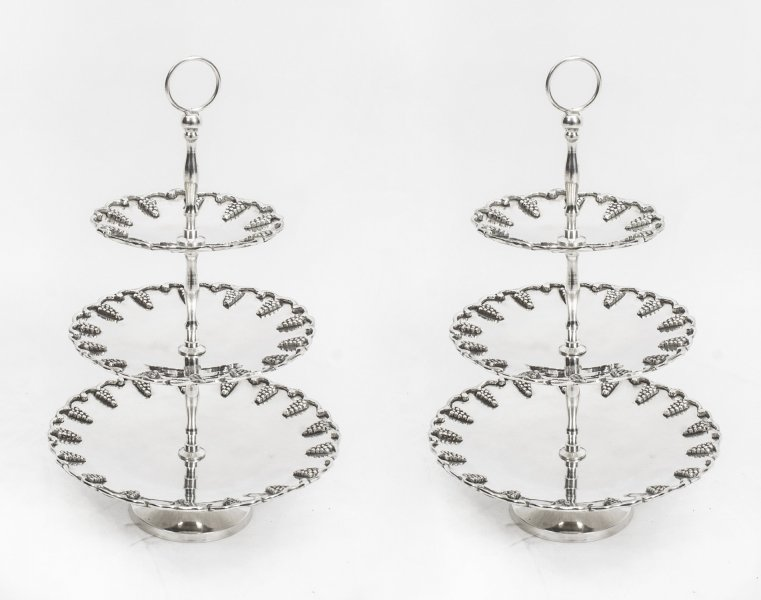 Vintage Pair Silver Plated Tiered Cake Biscuit Stands | Ref. no. 00554 | Regent Antiques