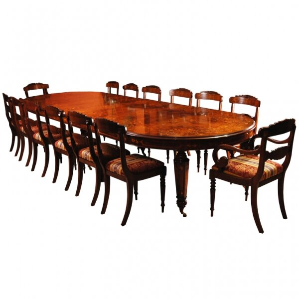 Bespoke Large Marquetry Dining Table & Chair Set | Large Marquetry Table & 14 Chairs | Ref. no. 00626 b | Regent Antiques