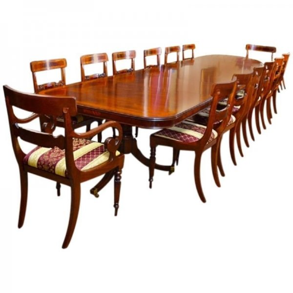 14 ft Three Pillar Mahogany Dining Table and 14 Chairs