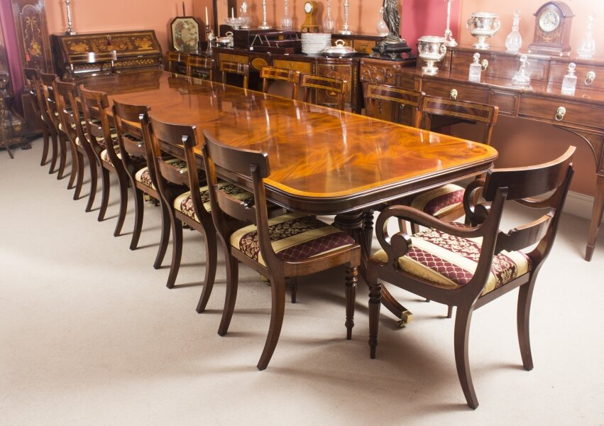 Regency Dining Table | Three Pillar Flame Mahogany Dining Table & Chair Set | Ref. no. 00745a | Regent Antiques