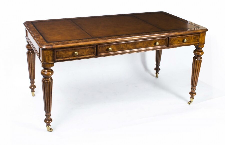 Vintage Gillows Style Burr Walnut Writing Table Desk 20th Century | Ref. no. 00775W | Regent Antiques