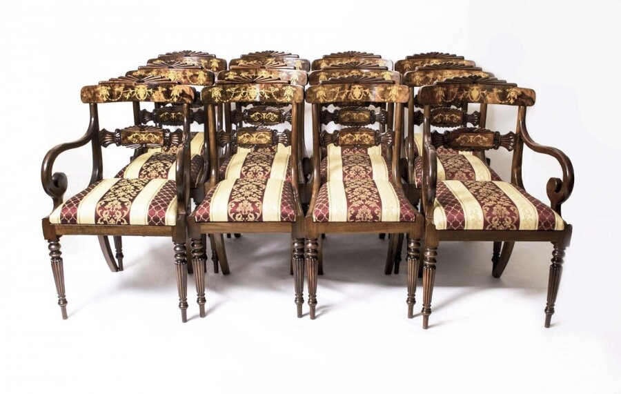 Set Of Regency Style Chairs | Srt Marquetry Dining Chairs | Ref. no. 00820 | Regent Antiques