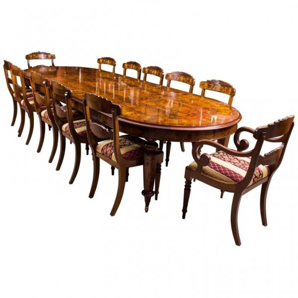Large Marquetry Dining Table & Chairs Set | Bespoke Burr Walnut 12ft Dining Table | Ref. no. 00917a | Regent Antiques
