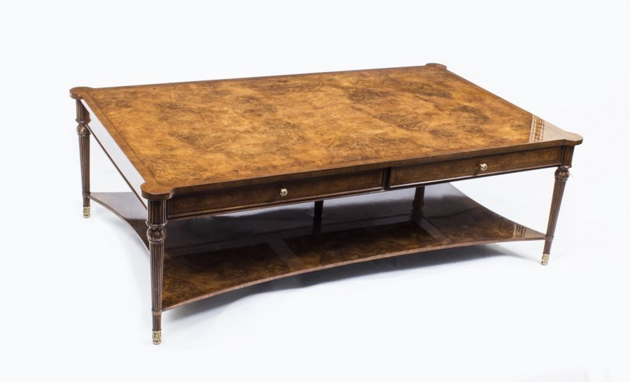 Elegant Burr Walnut Coffee Table With Two Drawers