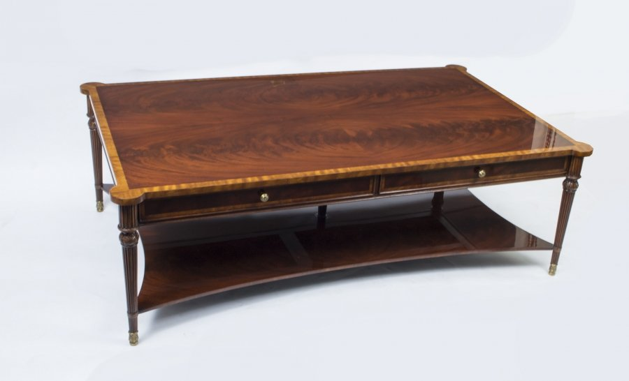 Bespoke Contemporary Flame Mahogany Coffee Table With Two Drawers 21st C | Ref. no. 01078 | Regent Antiques