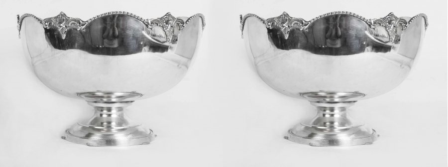 Silver Punch Bowls | silver Plated Wine Coolers. | Ref. no. 01200pair | Regent Antiques