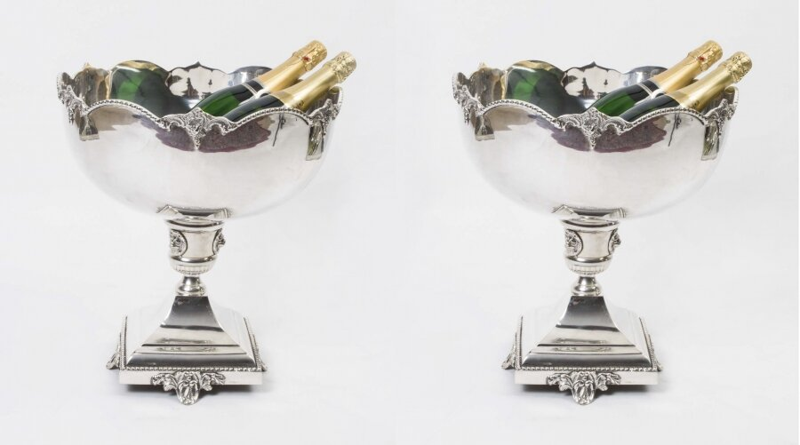 silver plated wine coolers | silver punch bowls | Ref. no. 01228pair | Regent Antiques