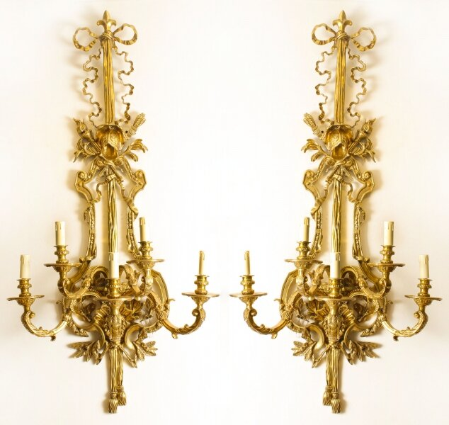 Vintage Monumental Pair Empire Revival Ormolu Wall Lights 20th Century | Ref. no. 01241b | Regent Antiques