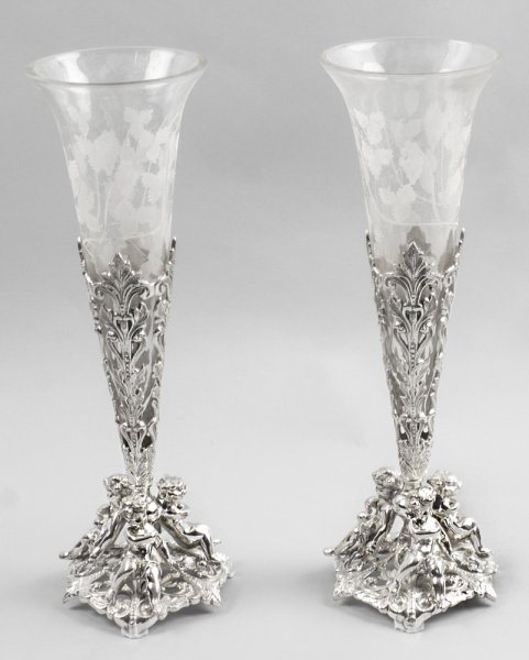 glass silver plated epergne | Ref. no. 01334 | Regent Antiques